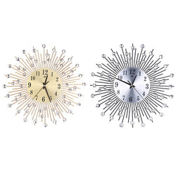 Metal Plus Diamond Wall Clock Iron Art Inlaid Diamond Flower Living Room Silence Bedroom Wall Clock Home Decoration