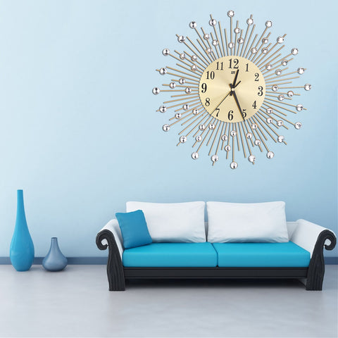 Metal Plus Diamond Wall Clock Iron Art Inlaid Diamond Flower Living ...
