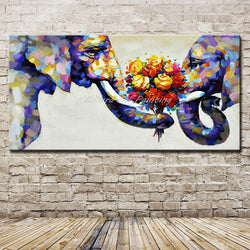 Mintura Hand Painted Abstract Elephant Couples Oil Paintings On Canvas Children's Room Wall Picture For Living Room Home Decor