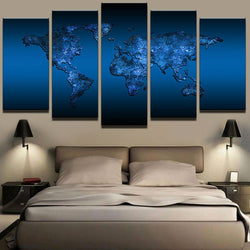 Modern Abstract Oil Painting On Canvas Art Home Wall Pictures 5 Panel Deep Blue World Map Modular For Living Room Decorative