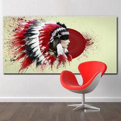 Modern Native American Indian Girl Feathered Canvas Painting For Living Room Wall Art Prints Home Decor red background