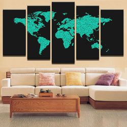 Modular Canvas Painting On Canvas Art Home Decorative Wall Painting 5 Panels World Map Wall Picture For Living Room Decor Frames