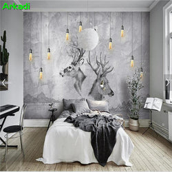 Nordic simple chandelier TV background wall paper warm bedroom animal deer wall cloth cement wall retro art wallpaper mural