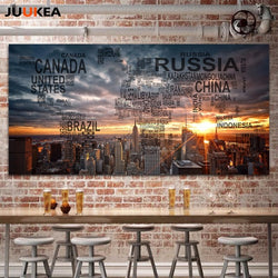Original Letter World Map Modern Chic Empire State Building City Scenery Canvas Print Painting Large Size Wall Decor Home Decor