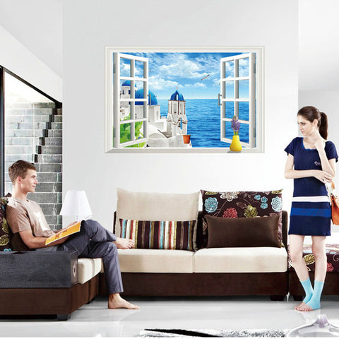 Romantic 3D Love Sea Wall Stickers Classical Room Decoration PVC 60x90  Artificial Window DIY Home Wall