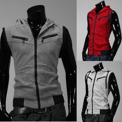 Men's Casual Zip Knitting Slim Hoodie College Style Sleeveless Vest