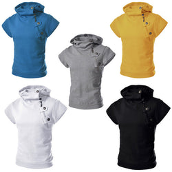 Mens Cotton Hooded Short Sleeved Solid Sweatershirts
