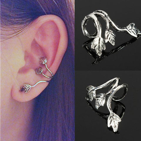 1pc Punk Triple Leaf Alloy Earring Clips Ear Cuff Silver Plated Jewelry