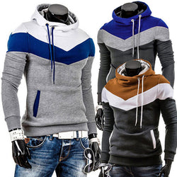 Men's Slim Fit Multi Colored Thick Fleece Hooded Pullover Sweater
