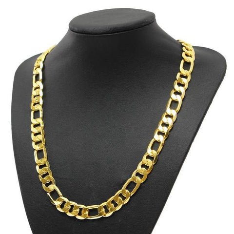 18K Gold Plated Geometric Chain Link Curb Necklace Men Jewelry