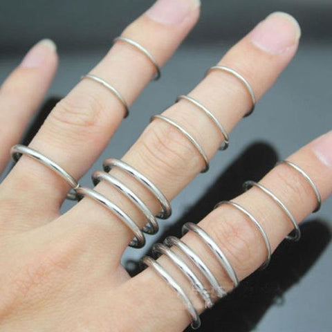 16pcs Punk Stack Thin Plain Band Finger Above Knuckle Rings Set