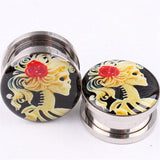 1pc Stainless Steel Pretty Girl Flared Ear Plugs Expander Tunnel Piercing