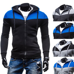 Mens Stitching Zipper Fashion Hoodies Casual Leisure Sweatshirt
