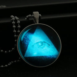 Triangle Galaxy Pendant Eye Stainless Steel Chain Luminous Necklace