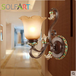 SOLFART sconces wall lamp arandela for home resin bronze color metal iron glass shade indoor bedside new classical wall lights