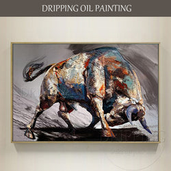 Top Artist Hand-painted High Quality Bull Oil Painting on Canvas Strong Bull Ready to Fight Oil Painting for Living Room