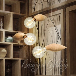 Vintage Edison OAK Wood Wooden Pendant Lights E26/E27 Socket Wood Light Holder,Pendant Lamps For Living Room Excluding Bulbs