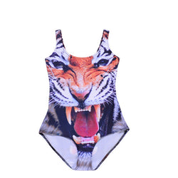 Wholesale SEXY Womens European Skinny Tiger Swimsuit One Piece Swimwear Digital Print Backless Wetsuit Wholesale Sst-1031