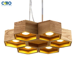 Wood Honeycomb LED Modern Pendant Lamp Indoor Dining Room Foyer Home Adornment Pendant Light 110-240V Free Shipping
