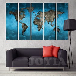 World Map Canvas Art Prints 5 Panel Large Wall Paintings Set Abstract Blue Sky The Earth Print for Home Office Decor