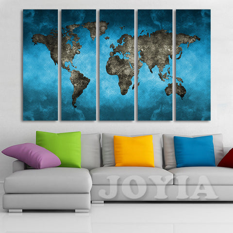World map canvas art prints 5 panel large wall paintings set world map canvas art prints 5 panel large wall paintings set abstract blue sky the earth gumiabroncs Gallery