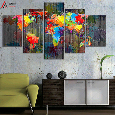 World map canvas painting wall modular picture living room classic world map canvas painting wall modular picture living room classic european type watercolor decoration print for gumiabroncs Images