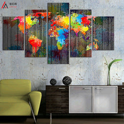 World Map Canvas Painting Wall Modular Picture Living Room Classic European Type Watercolor Decoration Print For Frameless PR124