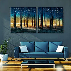 E-HOME® Stretched LED Canvas Print Art Woods Flash effect LED Set of 2