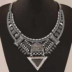 European Style Fashion Metal Triangle Exaggerated Gem Necklace