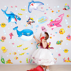 Cute Kids Cartoon Wall Sticker Colorful Underwater World Room Decor