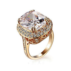 Noble and Elegant 18K Rose Gold Plated Royal Oval Cubic Zirconia Jewelry Ring