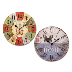 Large Wooden Wall Clock Tracery Butterfly Rustic Shabby Chic For Home Office Cafe Decor Art