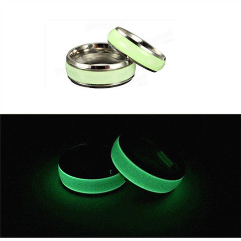 1PC Titanium Steel Luminous Round Couple Finger Ring For Men Women