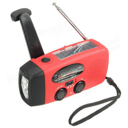 Emergency Solar Hand Crank Wind Up 3 LED Flashlight Torch AM FM Radio Charger