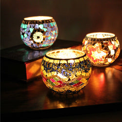 Handcrafted Mosaic Glass Candlestick Candle Holder Candelabra Home Wedding Decor Gift