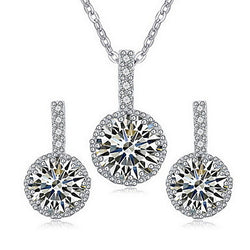 1 Necklace 1 Pair of Earrings AAA Cubic Zirconia Party Zircon 1set  Gold White Red Wedding Gifts