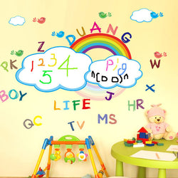 Kids Room Decor Rainbow Printable Wall Stickers Washable Rainbow Whiteboard Wall Sticker