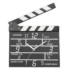 Cinema Movie Slate Shape Analog Wall Clock Wooden Modern Deco