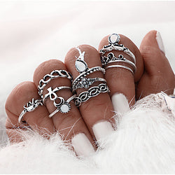 10PCS /Set Flower Silver Color Boho Beach Punk Elephant  Ring Special Occasion Daily Casual Jewelry Alloy Midi Rings 1setOne Size Silver