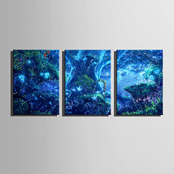 E-HOME® Stretched LED Canvas Print Art Magical Forest LED Flashing Optical Fiber Print Set of 3