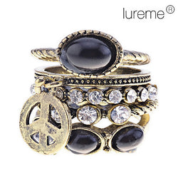 Ring Party Daily Jewelry Alloy Women Midi Rings Statement Rings 5pcs,9 Black