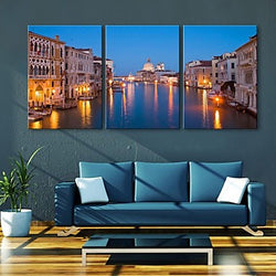 E-HOME® Stretched LED Canvas Print Art City Canal Flash effect LED Set of 3