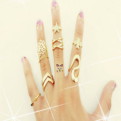 Midi Rings Alloy Simulated Diamond Statement Jewelry Golden Jewelry Casual 1set