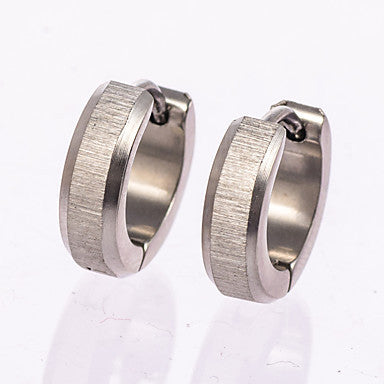 1 Pair Men's  Polished Gold/Silver/Black Stainless Steel with Crystal Hoop Stud Earrings Fine Jewelry Christmas Gifts