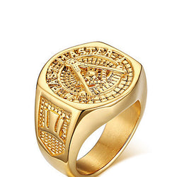 Ring Wedding / Party / Daily / Casual / Sports Jewelry Gold Plated Men 1pc,9 / 10 / 11 / 12 Gold
