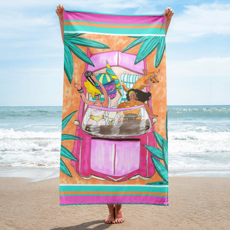 Bestie Beach Trip - XL Beach Towel featuring Maggie Stephenson Art