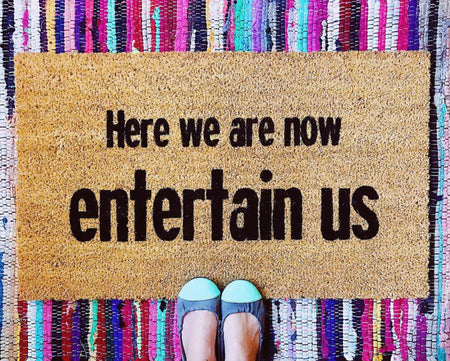 Here We Are Now Funny Doormat