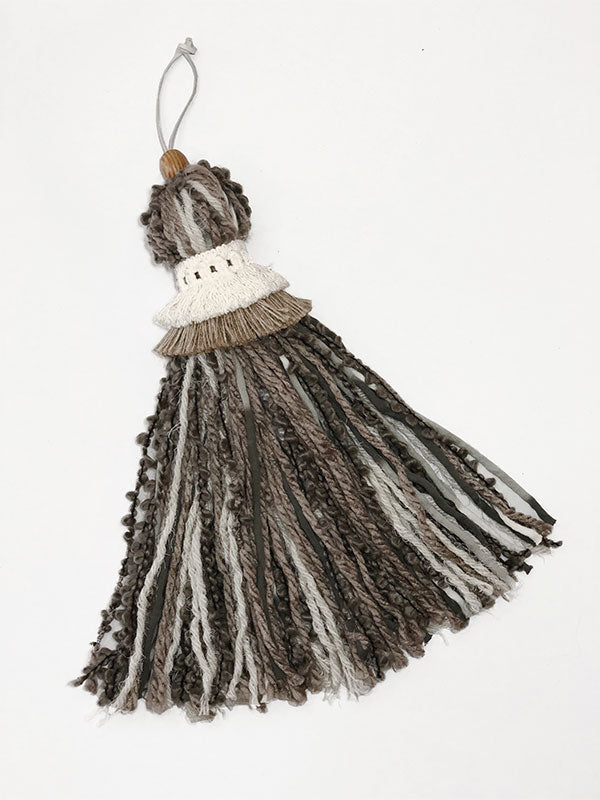 Extra Large Neutral Gray Decorative Tassel With Double Ruff