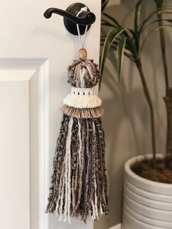 Extra Large Handmade Neutral Tone Tassel with Double Collar