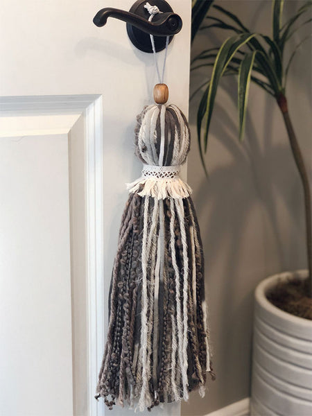Extra Large Handmade Neutral Tone Tassel with Single Collar